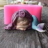 Silikonform als süße Meerjungfrau, 3D-Form für handgemachte Seife, Kerze, Kuchen, Fondant, Schokolade, Zuckerguss,  Backwerkzeug 2#