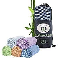 bamboo friends Bambus Reisehandtuch Handtuch – federleicht, super saugfähig, antibakteriell & schnelltrocknend – Bambushandtuch für Reisen Camping - 5 Farben – in 2 Größen (M/L)