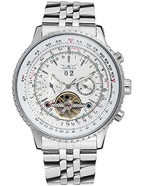Gute Männer 's Big, Stahl Armband und Fall Automatische watch-white