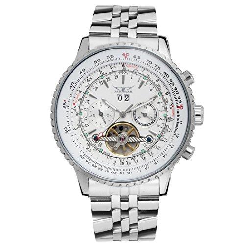Herren Armbanduhr Stahl Automatisch Uhren Weiß Fashion Drehganguhr Tourbillon