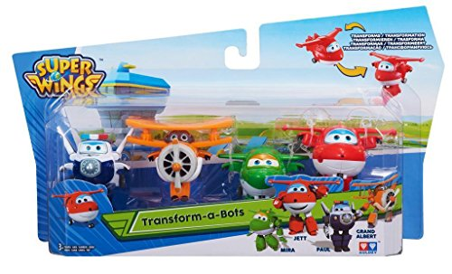 Spielzeug Fliegende Transformer (4 tlg Set Super Wings Mini Transform a Bots Jett Mira Paul G Albert Transformer)