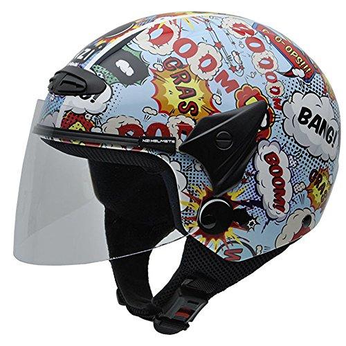NZI 050269G710 Helix Jr Graphics Boom Casco de Moto, Talla 52-53