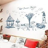 Skizze Strand Leuchtturm Vinyl Wandaufkleber Für Wohnzimmer Schlafzimmer Hintergrund Home Decor Diy Abnehmbare Wandtattoos Kunst Wandbilder