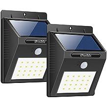 Foco Solar, iPosible Luces Solares 20 LED,1200mAh Lámparas Solares de Pared Impermeable,Luz de solar,Luces de Exterior con Sensor de Movimiento Batería Solar Exterior para Jardín,Patio,Camino,Escalera(2 Paquetes)