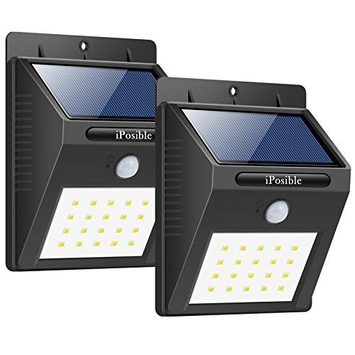 Foco Solar, iPosible Luces Solares 20 LED,1200mAh Lámparas Solares de Pared...