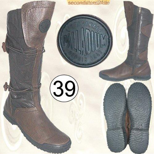 PALLADIUM Damen Schuhe Damenschuhe Damenstiefel Stiefel Lederstiefel Leder braun-schwarz 40 cm hoch Gr. 39