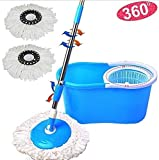 #4: Navraj Easy Magic Floor Mop 360° Bucket PVC with 2 Micro Fiber Refills (Random Color)
