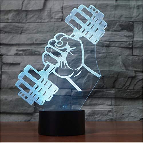 Creativo 3D de mano con forma de pesa luz de noche multicolor...