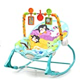 #10: Fiddle Diddle Baby Bouncer Cum Rocker with Vibration Function, Music and 3 Toys (Penguin Blue)