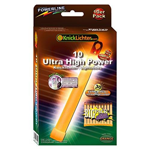 KnickLichter 10 Ultra High Power Knicklichter ORANGE bis 30 Min extrem intensiv (150x15mm)
