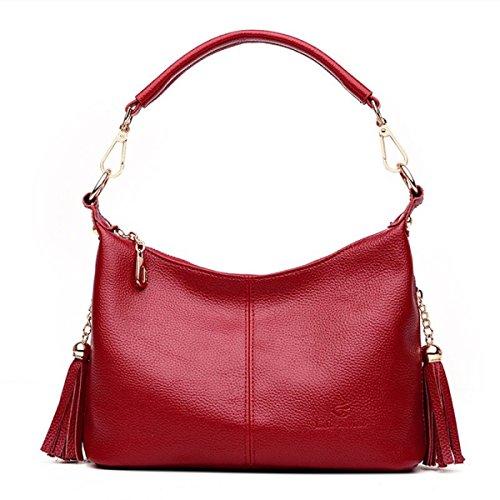 DHFUD Damenmode Schultertasche PU Quaste Wild Handtasche Red