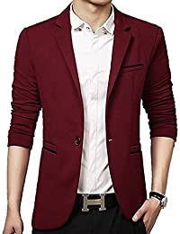 9aa405f817e04 Gopune Men's Slim Fit Casual One Button Suits Coat Solid Blazer Business  Jacket