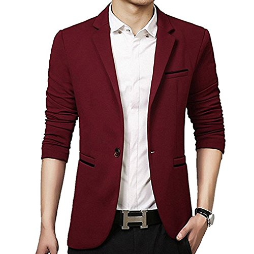 donhobo Men's Slim Fit Casual One Button Suits Coat Solid Blazer Business Jacket(Red,M)