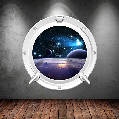 Price comparison product image Space Porthole Planets Universe Galaxy Spaceship Wall Art Sticker Decal Mural Transfer Print 2
