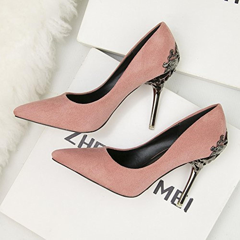 Señaló Los Zapatos De Tacón Alto, Frosted Sole, Ahuecado Suede Sandals (8 Cm O Más),Rosa,Eu35Cn36