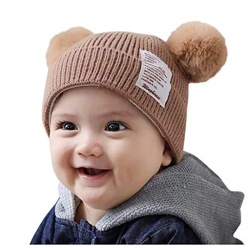 Cuteelf Kinder Wollmütze Winter Ohrenschützer Volltonfarbe Doppelkugel Mütze Baby warme Wintermütze Winter Jungen Mädchen Hut niedlichen Bären, Kleinkind Ohrenschützer, gewebter