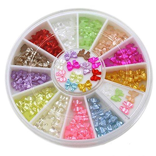 Multicolore avec nœud 3D Stickers Décoration DIY beauté Clous Nail Art Conseils de roue