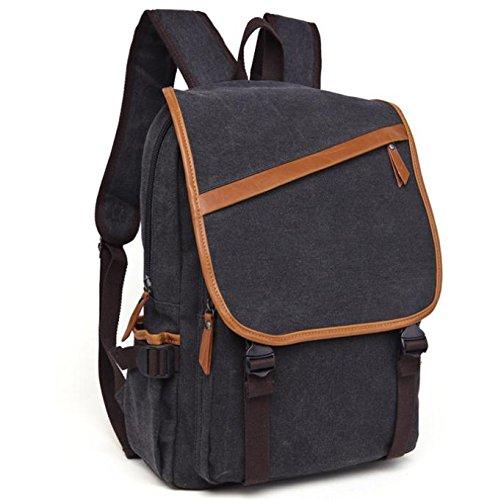 &ZHOU Borsa di tela, Viaggi di piacere retrò di multifunzione tela borsa a tracolla borsa casual borsa a tracolla, borsa di petto, zainetto zaino di computer, coppie , coffee color Black