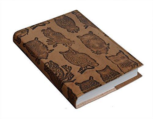 Store Indya, Fait main Motif de hibou cuir bound Journal intime Carnet livre de voyage pour les hommes et les femmes (18X13CM) avec Hardbound Cover et 96 pages respectueuses de l'environnement non doublees Bureau papier Supplies