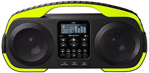 SDigital X-3808 Splash Outdoor Bluetooth Lautsprecher (Radio, MP3, Powerbank, AUX-In) matt grau/lime grün