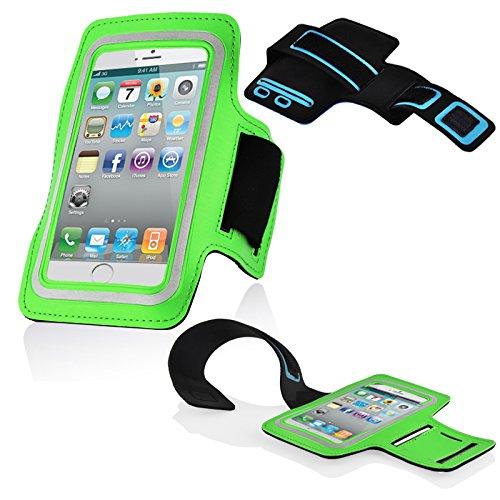 Cadorabo - Neopren Smartphone Sport Armband Fitnessstudio Jogging Armband Oberarmtasche kompatibel mit 3.7 - 4.5 Zoll Handys wie z. B. Apple iPhone 4, 5, > Nokia Lumia 620 < , Sony Xperia E, Samsung Galaxy ACE 2, > HTC ONE V < usw. mit Schlüsselfach und Kopfhöreranschluss in GRÜN Ace Handy