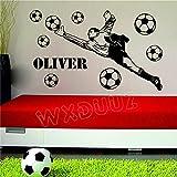 Gardien de but personnalisé nom joueur de football balles vinyle autocollant mural...