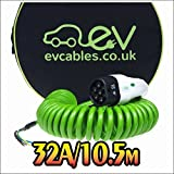 EV Cables Coiled Type 2 tethered Green
