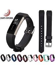 Para Fitbit Alta / Alta HR, JIM'S STORE 10 PCS Adjustable Silicona Reemplazo Wristband con hebilla de metal Clasp + 2PCS Protector de pantalla (L)