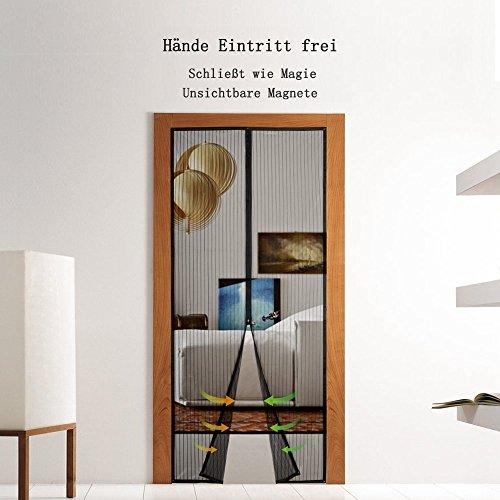 BALFER Magnet Fliegengitter Tür Insektenschutz Vorhang 90x210cm Magnet  Fliegenvorhang, Klebmontage Ohne Bohren, Vorhang Für