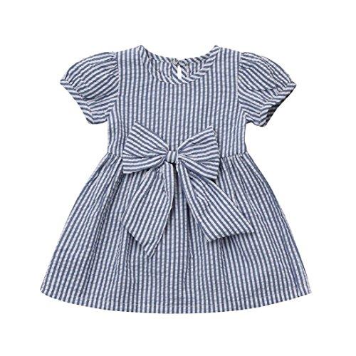 Kobay Baby Mädchen Infant Kleinkind Kinder Kleidung Streifen Bogen Prinzessin Outfits Kleid (Kleidung Für Wars Kleinkinder Star)