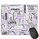 Gymnastics Words Purple Mouse Gaming Mouse Pad Non-Slip Smooth Desk Mat Washable Material 7.1 x 8.7 Inches(18x22CM)