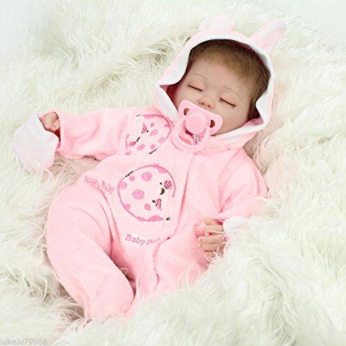 Nicery Reborn Baby Doll Renacer Bebé la Muñeca Vinilo Simulación Silicona Suave 18 Pulgadas 45cm Boca Magnética Natural Niña Niño Juguete vívido para 3 años + Pink Rabbit