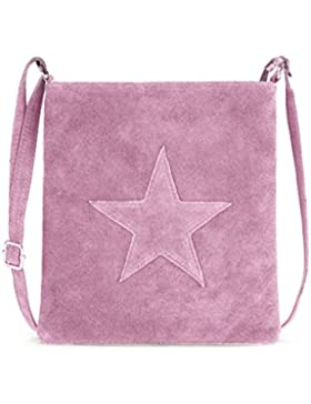 Handtasche / Ledertasche für Damen von der Marke Kurt Kölln ★ mit Stern Motiv ★ Wildleder / Echtleder ★ tragbar...
