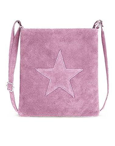 Handtasche / Ledertasche für Damen von der Marke Kurt Kölln ★ mit Stern Motiv ★ Wildleder / Echtleder ★ tragbar als Schultertasche ★ Umhängetasche ★ - Rosa
