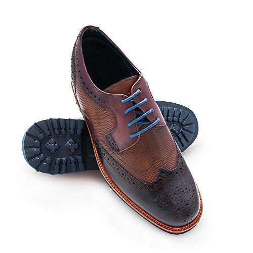 Zerimar Zapatos de Hombre con Alzas Interiores en Piel Aumento 7 Cm Zapatos Hombre Número 40 Color Azul Marino