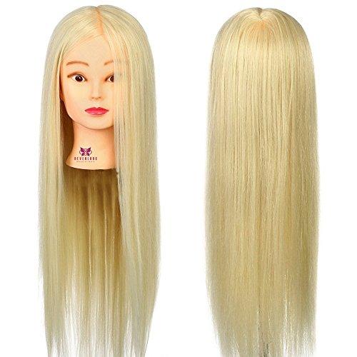 Neverland Beauty 66cm 30% Vrais Cheveux Tête d'apprentissage Tête à Coiffer La Formation Cosmétologie Blond Mannequin Head #613
