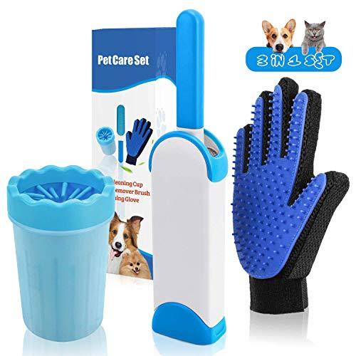 Haustierhaarentferner Bürste Haustier-Fellpflege-Handschuh, Pfotenreiniger, 3 in 1 Haustierreinigungsset für Haustiere, Fellentferner für Katzen, Hunde, Pferde mit langem Schuss (Haar-schuss-entferner)