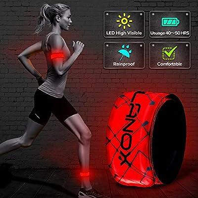 ELANOX LED Armband 2 Stück Leuchtband für Sport Outdoor Reflektorband Sicherheitslicht Slap Band für Fahrradfahren Joggen Kinderwagen