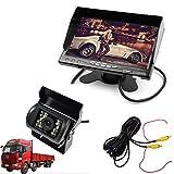 """Cocar Auto Camion Monitor da 7"""" inch HD TFT LCD + Heavy Duty Telecamera Retromarcia + Universale IR Visione Notturna 10M / 30FT Video Cavo(Parcheggio Posteriore Retromarcia Sistema di Assistenza Kit)"""