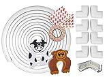 11 Stück Baby-Sicherheit, Ecken und Kantenschutz für Möbel - 6m Kantenschutz Stoßfänger, 8 Eckenschützer und 2 Türstopper! - Premium Qualität Möbelsicherheitsset, Tisch, Kommode (Weiß)