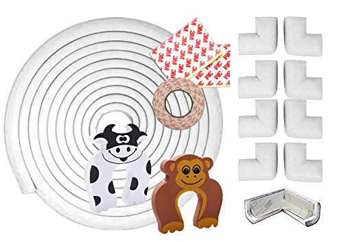 11 Stück Eckenschutz, Kinderschutz für Möbel - 6m Kantenschutz Stoßfänger, 8 Eckenschützer und 2 Türstopper! - Premium Qualität baby ecken und kantenschutz, Tisch, schaumstoff kantenschutz (Weiß)