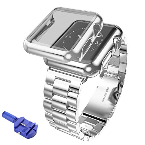Hunpta Edelstahl Armband Armband Band + Cover Case für Apple Watch Serie 2 42mm (Silber) Bluetooth Metal Cover