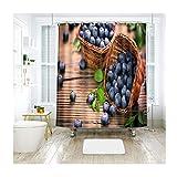 KnSam Duschvorhang Badewannevorhang Amerikanische Heidelbeere Wasserdicht Anti-Schimmel inkl. 12 Duschvorhangringe für Badezimmer 180x200cm