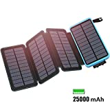 FEELLE Solar Powerbank 25000mAh Wasserdicht Solar Ladegerät mit 2 USB 2.1A und LED-Licht Tragbar Power Bank Battery Pack für Das iPhone, iPad, Samsung Galaxy, Smartphones/Handys