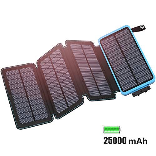 FEELLE Chargeur Solaire 25000mAh Grande Capacité, Portable Power Bank avec 4 Panneaux Solaires Charge Rapide USB 2.1A Compatible avec Les Smartphones, Tablettes, Imperméable