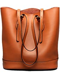 d4226c44c5 Ghlee Women Ladies 2017 Top Layer Genuine Leather Handbags Fashion Large  Capacity Buckets Shoulder Bag
