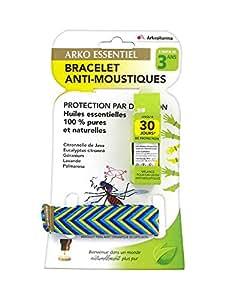 Arkopharma Arko Essentiel Bracelet Anti-Moustiques + Mélange pour Diffusion Anti-Moustiques 5 ml - Couleur : Bleu/Jaune/Bleu