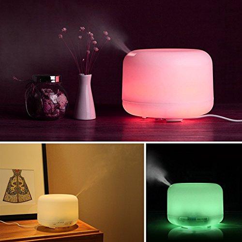 Aiho Ultrasonico Humidificador 500ml Difusor de Aceites Esenciales Aromaterapia 7 Color LED 4 Ajustes de Tiempo Para Yoga Spa Hogar Oficina Dormitorio (Blanco)