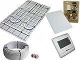 Tackerplatte Fußbodenheizung Warmwasser, Sani-TAC Komplett 5m² oder 10m² mit Verbundrohr incl. RTL elektronische Regelbox mit Digital-Thermostatregler, Fläche:10 qm