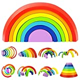 GKPLY Regenbogen Stapeln Spiel Verschachtelung Bausteine Lernspielzeug Holz Lernspielzeug für Kinder Kinder Spielzeug Geschenke